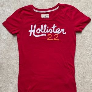 LIKE FOR DISCOUNT! hollister red logo tee girls